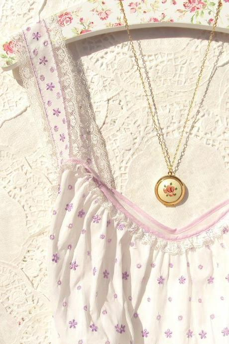 Another Time - Vintage Guilloche Locket Necklace