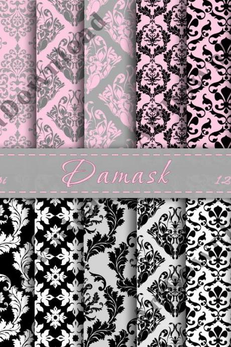 Damask Digital Paper Digital Scrapbooking Background Digital Downloads Digital Scrapbook Paper Pack Printable