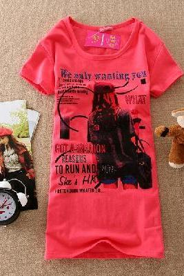 Simple Style Fashionable Figure Girl Print T-Shirt Red, Size S/M,