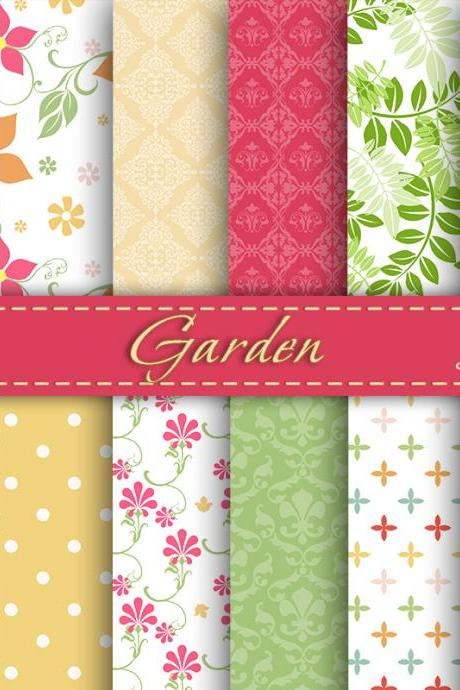 Garden Digital Paper Spring Digital Pape Scrapbooking Paper Set Digital Paper Pack Digital Downloads