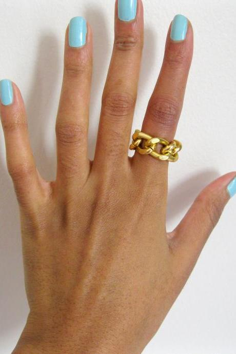 Gold Chain Cocktail Ring