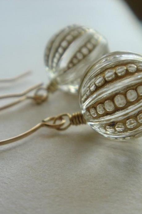 Nostalgic Vintage Hand Etched Gold Acrylic 14k Gold Filled Earrings