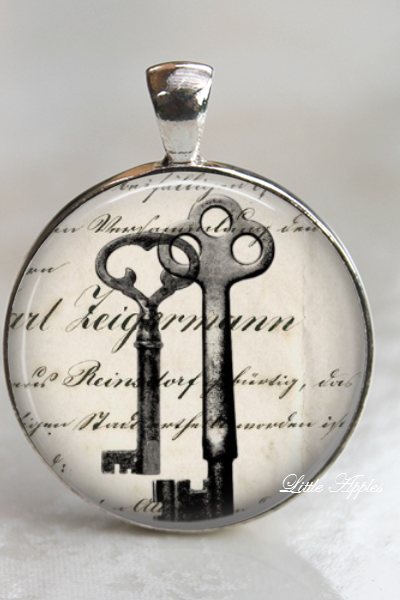 keys ephemera sketch drawing vintage glass necklace or keychain