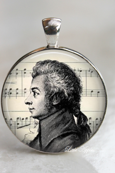 Mozart famous music composer vintage illustrations necklace keychain