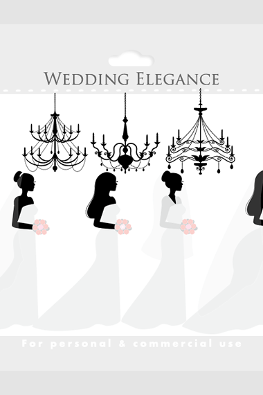 Brides clipart - wedding clip art, wedding dress, chandeliers, elegant, girls, romantic, white, black, for personal and commercial use