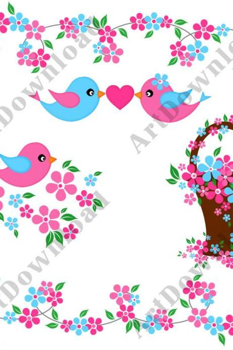 Clip Art Birds Pink and Blue Birds Love Birds Digital Bird and Flowers Clip Art Birds Flower Borders