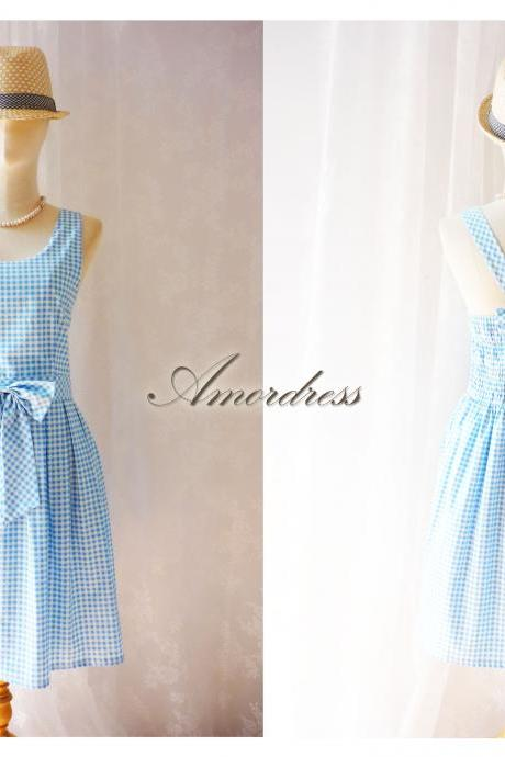 Blue Plaid Party Dress Sweetest Spell .. Party Dress Prom Wedding Everyday Dress Bow V Halter Pleated Skirt Dress -Size S-