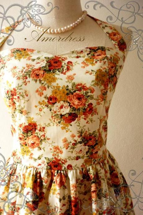 Flower Dress Amor Vintage Inspired Romantic Autumn Tangerine Rose Garden Dress Neck Tie Style - Once Upon A Time- Size XS,S,M,L,XL-