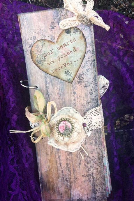 Wedding Guest Book - Love heart theme In vintage rustic scrapbook style - 24 page