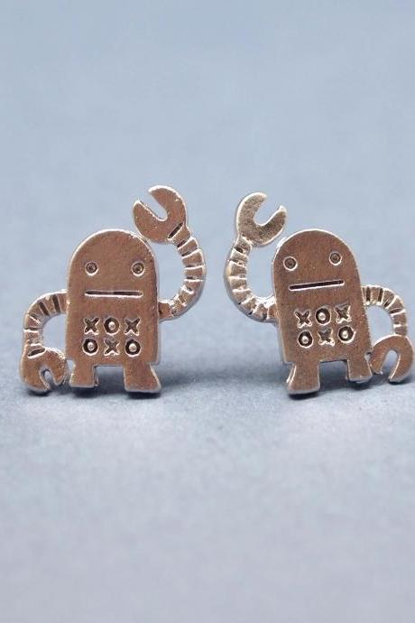 unique robot post earrings in silver