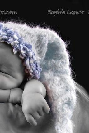 Baby boy hat tassel newborn to 3 months hand made mohair photography prop