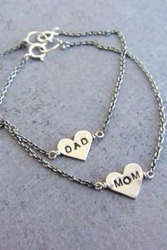 Sterling silver chain love bracelets, mom and dad heart charm. Pair