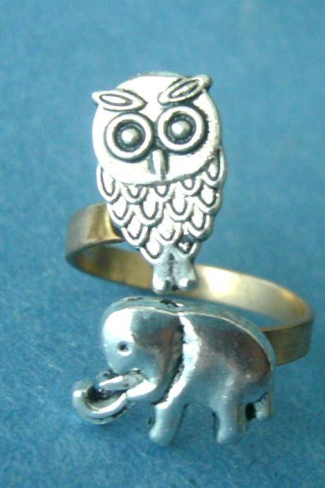 owl and elephant ring, adjustable ring, animal ring