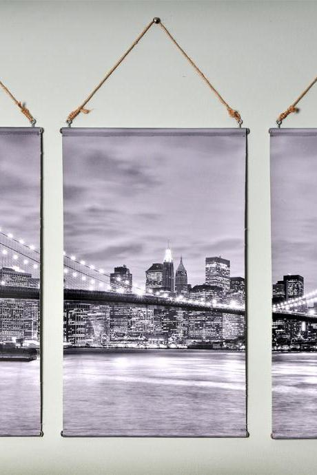 Prints on canvas. Brooklyn Bridge Triptych art Canvas Wall Hanging set of 3 prints. 13' x 22' each print, black and white.