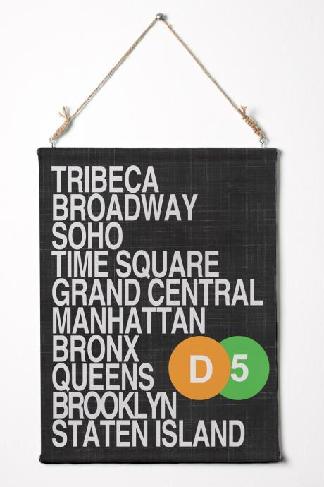 "Print on canvas. NYC boroughs. Subway Roll Sign. NYC Art Canvas Wall Hanging. 12.5"" x 16.5"""