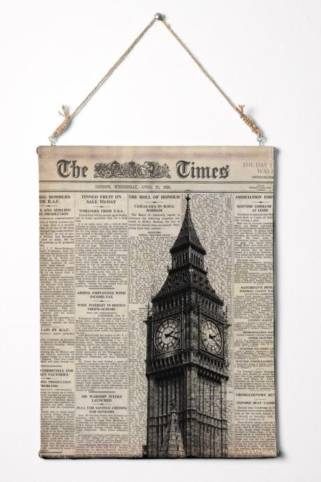 Print on canvas. Big Ben and newspaper. London wall art Canvas Wall Hanging. 12.5' x 16.5'
