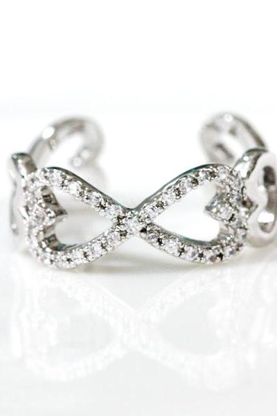 Infinity and Heart adjustable ring in white gold