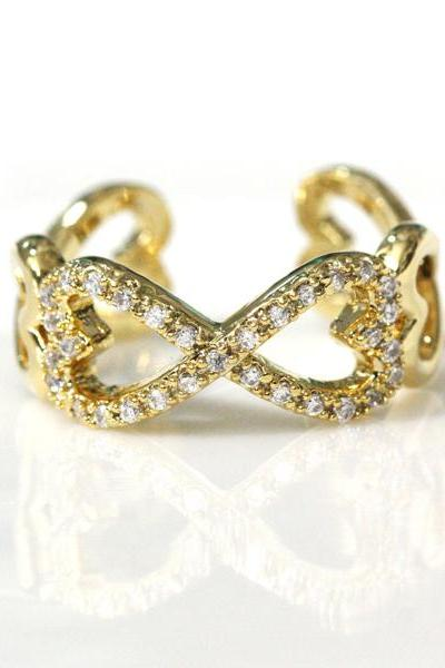 Infinity and Heart adjustable ring in gold