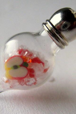 Apple Necklace, Glass Vial Pendant, Teacher Jewelry, Back to School