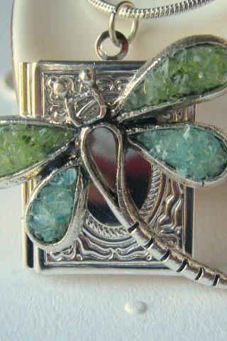 Dragonfly Locket, Book Locket, Silver Square Locket, Locket Jewelry, Stained Glass Locket
