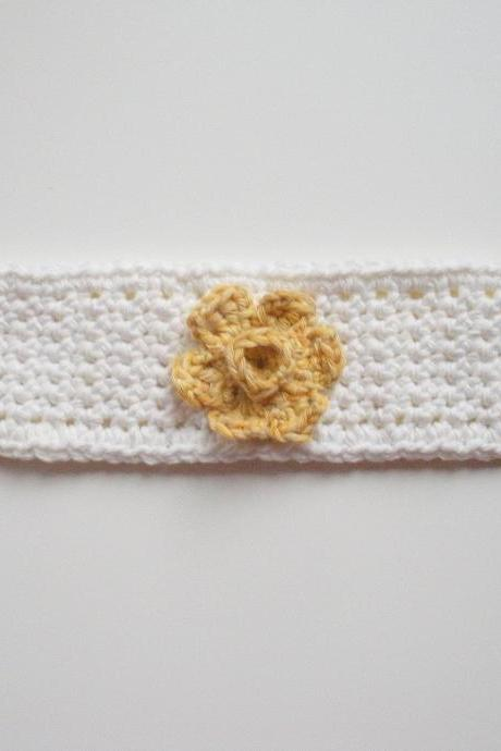 White Cotton Crochet Cuff Bracelet with Yellow Buttercup, ready to ship.