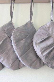 Wedding / Bridal / Bridesmaid Clutch - 4 x Grey / Silver hidden Wristlet Clutch - Perfect Bridesmaid Gift (available in all colours)