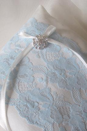 Grace Wedding Ring Pillow - Light blue
