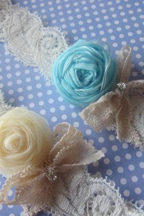 Simply Rosebuds and Bows Bridal Garter Set (including toss garter) -Special Offer for Limited Time ONLY 15% Off