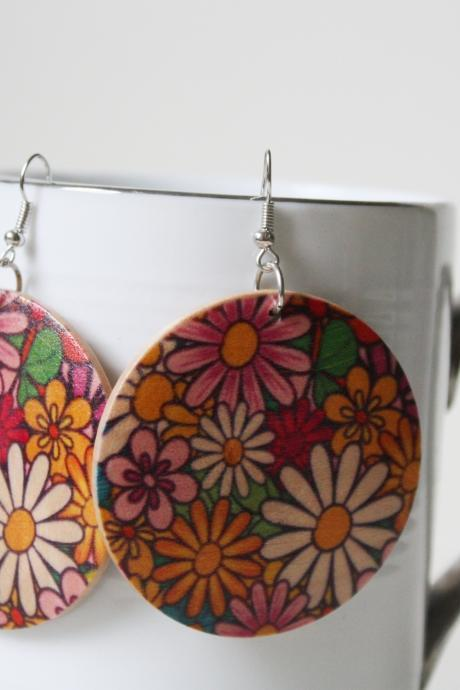 Violet Garden Printed Wood Earring ,Naturally Beauty from Wood.