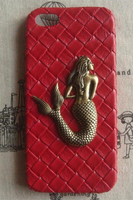 Steampunk Mermaid Red Woven PU Leather hard case For Apple iPhone 5 case cover