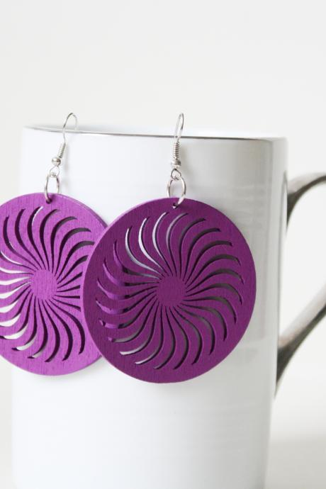 Classic Violet Wind turbine Cut Earring ,Naturally Beauty from Wood