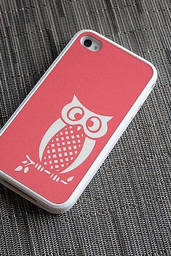 Coral and White Owl Custom iPhone Silicone Case