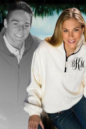 Monogrammed fleece 1/4 Zip Pullover