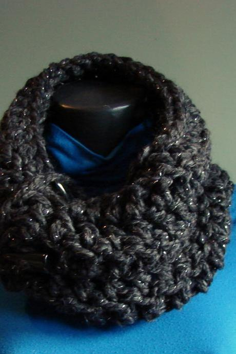 On Sale 50 % Off - Sparkle Chunky Front Button Cowl Snood Cowl Scarf - Constelation