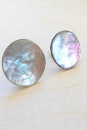 Silver Grey Earring Studs , Mother of Pearl Earring Posts , Button Earring Posts, Under 20