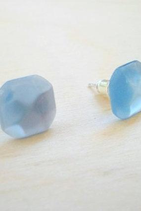 Blue Earring Posts , Light Blue Tiny Cube Earrings Studs , Geometry Fashion, Everyday Jewelry, Under 15 20 25