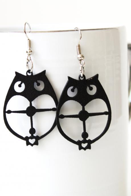 Classic Black Owl Cut Natural Wood Earring