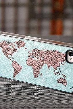 World Map Colored Sketch Custom iPhone Case