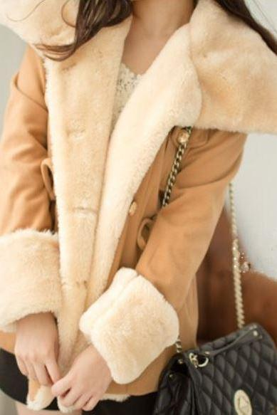 Beige Wool Jackets with Big Lapel Large Size, Medium Size
