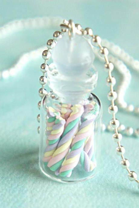 twisted marshmallows in a jar necklace