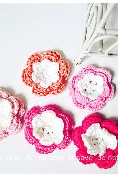 Pink crochet flower 3 layer for scrap booking, card making etc