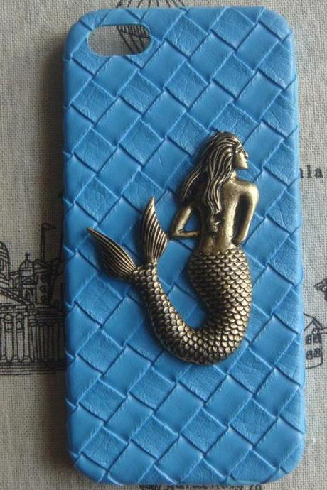 Steampunk Mermaid Blue Woven PU Leather hard case For Apple iPhone 5 case cover