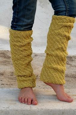 Long Mustard Yellow Leg Warmers, Knit Leg Warmers