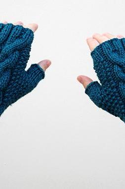 Dark Teal Mittens, Double Cable Fingerless Gloves, Knit Arm Warmers, Winter Accessories