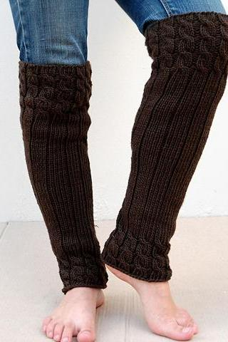 Brown Leg Warmers, Double Cable Leg Warmers, Knit Long Leg Warmers.