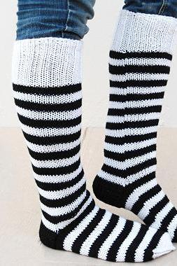 Black And White, Knit Socks, Boot Cuff, Knit Socks for Boots