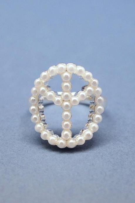 Peace sign with Pearl in Silver - Adjustable Ring