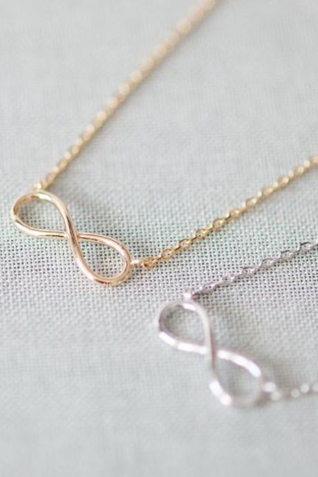 Simple tiny infinity necklace in gold only