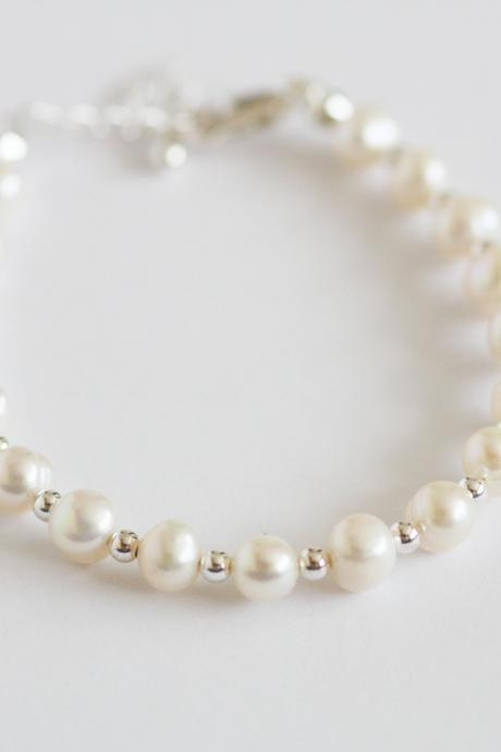 freshwater pearl and sterling silver bridal bracelet