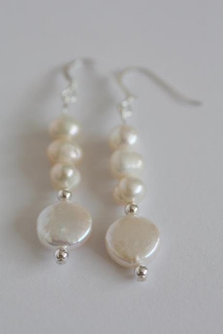 Ivory freshwater pearl, coin pearl and sterling silver earrings